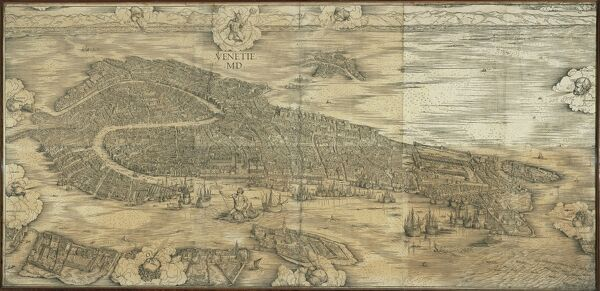 Cartography, Italy, 16th century. Map of Venice in 1500, by Jacopo de Barbari