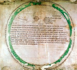 Anglo-Saxon map of 900s showing a flat earth and the ocean that was thought to surround it