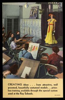 Art Class at Ray Schools. ca. 1936, Chicago, Illinois, USA, CREATING ideas...from attractive