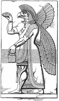 Assyrian winged god Nisroch carrying the pine cone, symbol of regeneration. Engraving