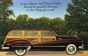 Automobile for Fox College. ca. 1948, Chicago, Illinois, USA, DAY and EVENING Fox College