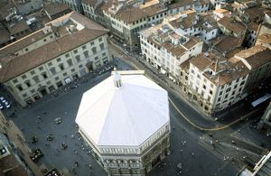 Baptistry building, Florence, Italy, seen from above