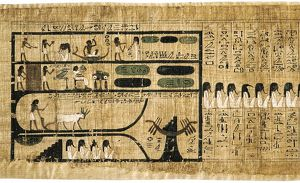 Book of the Dead on papyrus showing written hieroglyphs. Depiction of ploughing with
