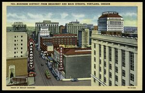 Business District. ca. 1937, Portland, Oregon, USA, 703-BUSINESS DISTRICT FROM BROADWAY