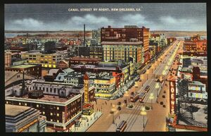 Canal Street at Night. ca. 1937, New Orleans, Louisiana, USA, CANAL STREET BY NIGHT