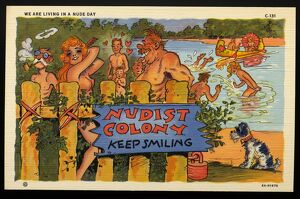 Cartoon of a Nudist Camp. ca. 1936, WE ARE LIVING IN A NUDE DAY.