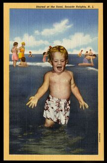 Child Playing in Surf. ca. 1949, Seaside Heights, New Jersey, USA, Started at the Sand