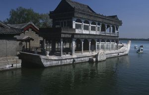China, Beijing, Marble Boat at Imperial Summer Palace in background