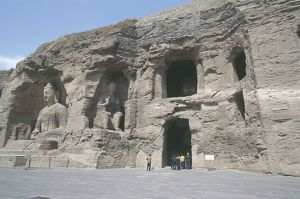 China, Shanxi, Datong, Yungang Grottoes, Rock-cut statues of Buddha in cave 19 and 20
