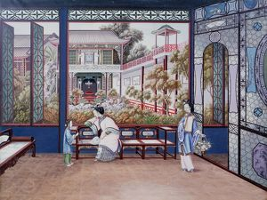 Chinese domestic scene. Women and child in room overlooking courtyard garden