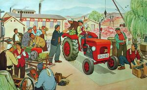 Chinese political poster depicting a group of collective farmers in Communist China