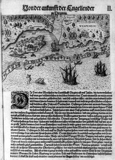 The Colony of Virginia depicted in a book with Map. 17th Century