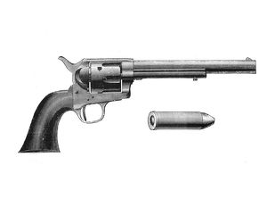 Colt Frontier revolver. Also known as the Colt Peacemaker. After Mexican War of 1846-1848
