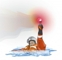 Digital composite illustration of man submerged in water wearing lifejacket and crash