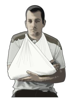 Digital composite illustration of of man supporting arm in sling