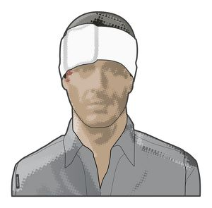 Digital composite of man with sterile bandage protecting head wound