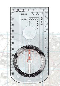 Digital illustration of basic compass on map set to magnetic north