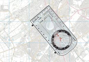 Digital illustration of basic orienteering compass on map