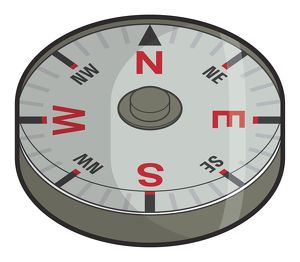 Digital illustration of button compass