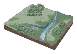 Digital illustration of finding route to footbridge across stream on non urban landscape