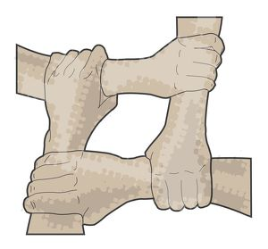Digital illustration of hands forming two person seat