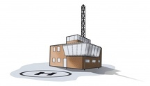 Digital illustration of helipad outside rescue centre