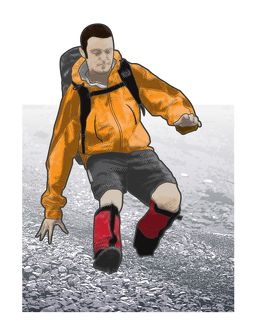 Digital illustration of hiker screeing downhill combining sliding with slow-motion jogging