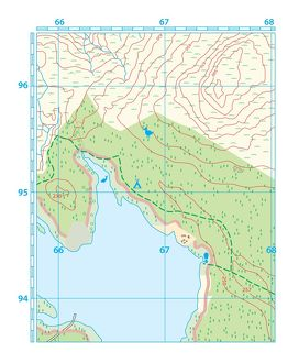 Digital illustration of hiking map showing land and sea
