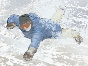 Digital illustration of man escaping from avalanche