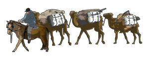 Digital illustration of man on horse leading roped camel train carrying equipment