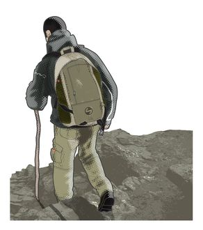 Digital illustration of man leaning slightly backwards and using stick as he hikes