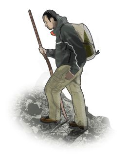 Digital illustration of man walking uphill carrying hiking pole
