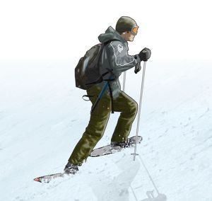 Digital illustration of man wearing protective clothing and using snow shoes