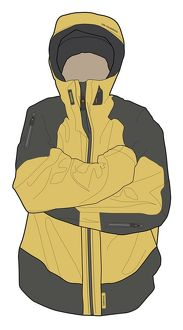 Digital illustration of man wearing waterproof jacket with hands in armpits for warmth