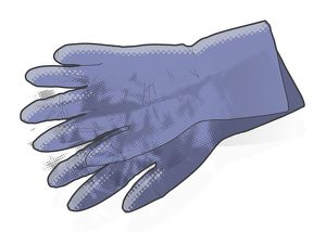 Digital illustration of pair of disposable nitrite gloves
