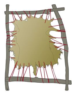 Digital illustration of tanning hide stretched on improvised frame made from branches
