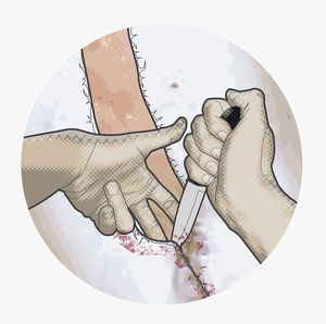 Digital illustration of using small knife to skin animal