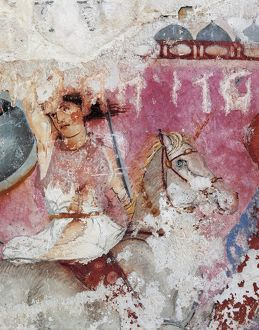 Etruscan civilization, Amazon Sarcophagus - detail of painted decoration. From Tarquinia