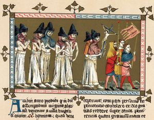 Flagellants or Brothers of the Cross in Netherlands town of Doornik 1349 scourging