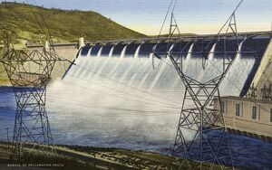 Grand Coulee Dam. ca. 1948, Washington, USA, 304 - POWER TRANSMISSION TOWERS. GRAND COULEE DAM