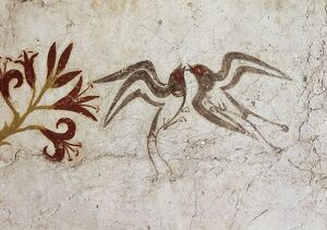 Greek civilization, fresco depicting spring, from Akrotiri, Thera, Santorini