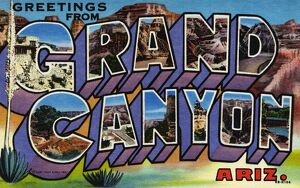 Greeting Card from the Grand Canyon. ca. 1948, Arizona, USA, Greeting Card from the