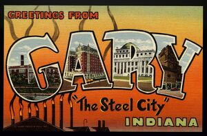Greeting Card from Indiana. ca. 1945, Gary, Indiana, USA, G-Horace Mann High School