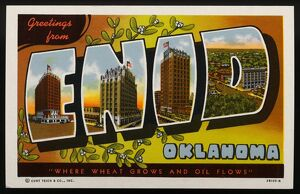 Greeting Card from Oklahoma. ca. 1941, Enid, Oklahoma, USA, 'WHERE WHEAT GROWS