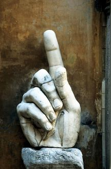 Hand of Constantine, sculpture. Fragment of giant statue of Constantine the Great