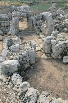 High angle view of the old ruins of a temple, Ta Hagrat, Mgarr, Malta