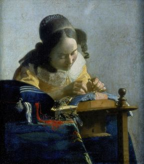 The Lace Maker' c1664: Johannes Vermeer (1632-1674) Dutch painter. Oil on canvas