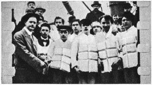 The loss of SS Titanic, 14 April 1912: Members of the ship's crew in their life