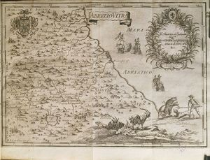Map of ancient Abruzzo, by Giovan Battista Pacichelli, engraving, 1702