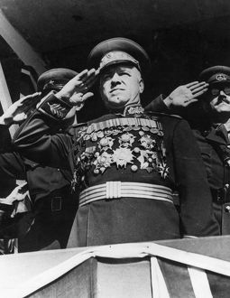 Marshal georgy zhukov, hero of the soviet union, 1945.